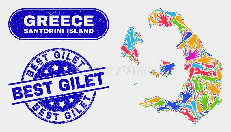 Den industriella Santorini ööversikten och bedrövar bästa Gilet skyddsremsor royaltyfri illustrationer
