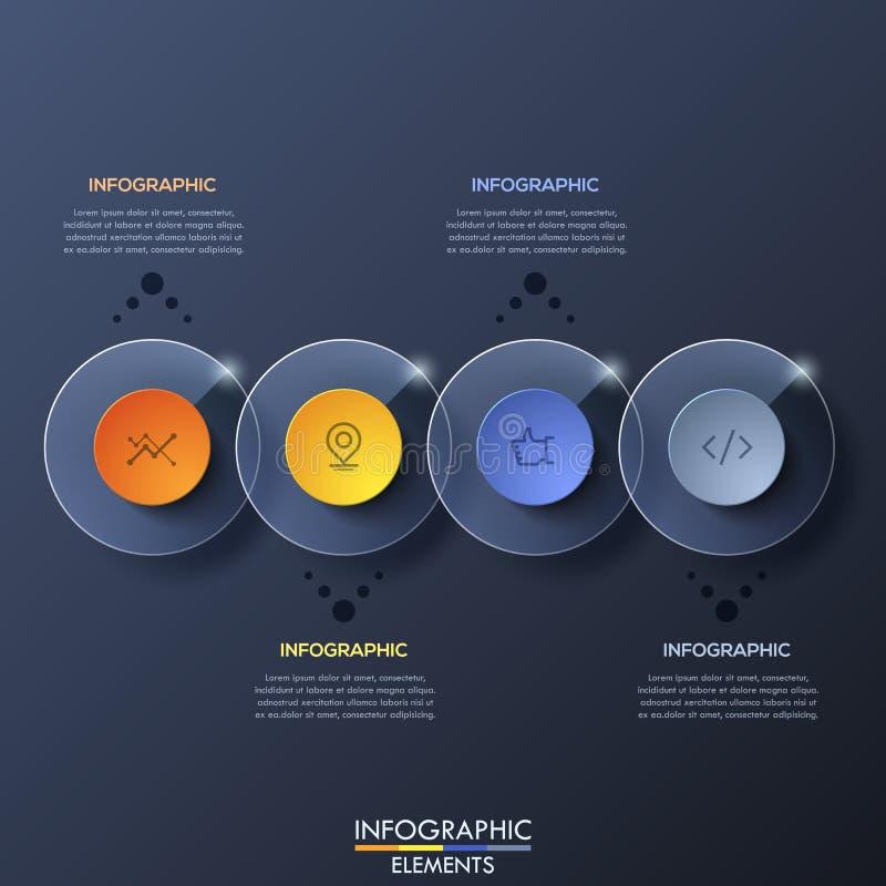 Den Infographic designmallen med 4 överlappade genomskinliga runda beståndsdelar på mörk bakgrund royaltyfri illustrationer