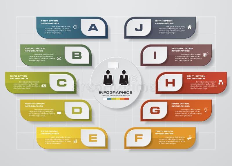 Den Infographic designmallen och affärsidéen med 10 alternativ, särar, kliver eller processar royaltyfri illustrationer