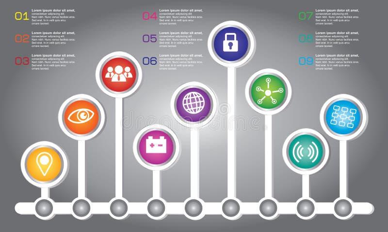 Den Infographic designmallen och affärsidéen med 6 alternativ, särar, kliver eller processar royaltyfri illustrationer