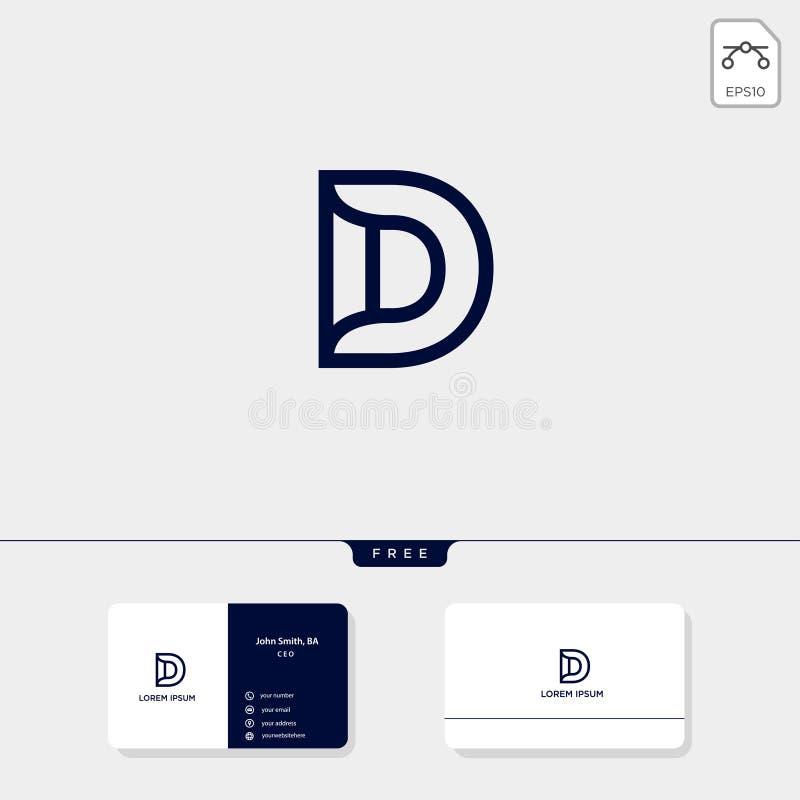 den initiala D-logomallen för teknologi som är tand-, den företags vektorillustrationen för affären, mall för affärskortdesign, i vektor illustrationer