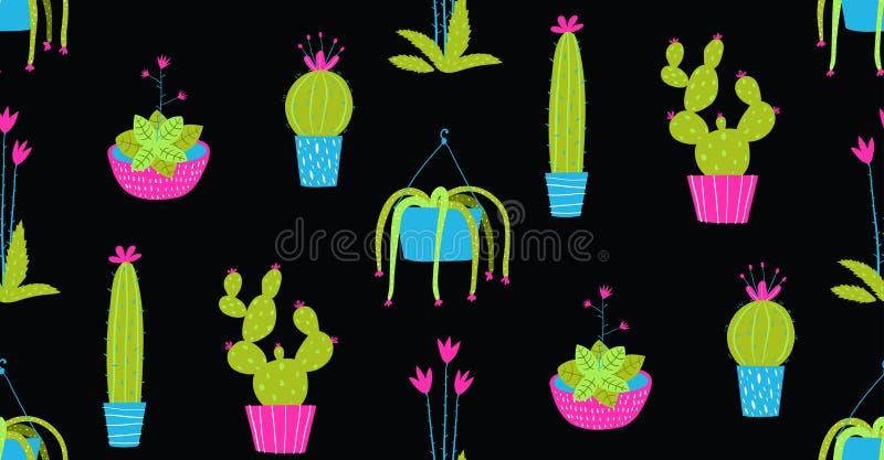 Den inomhus kaktuns i krukor räcker den utdragna sömlösa modellen vektor illustrationer