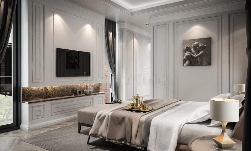 Den inre sovrumstudiomodellen, modern klassisk stil, 3D framför royaltyfri illustrationer