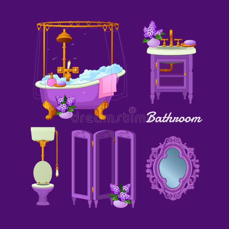 Den inre vektorn anmärker för ett badrum royaltyfri illustrationer