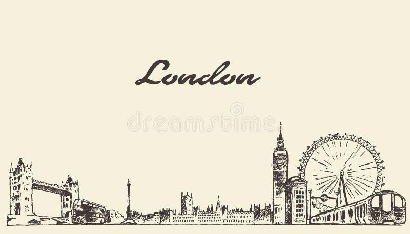 Den inristade handen för den London horisontvektorn som dras, skissar stock illustrationer