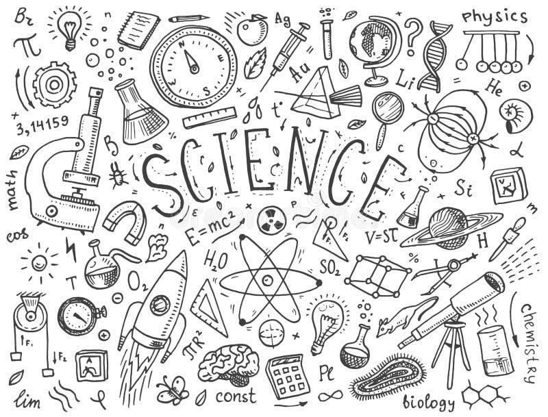 den inristade handen som dras i gammalt, skissar och tappningstil vetenskapliga formler och beräkningar i fysik och matematik vektor illustrationer