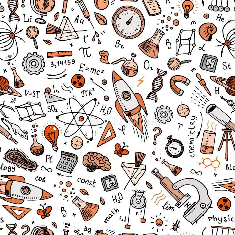 den inristade handen som dras i gammalt, skissar och tappningstil vetenskapliga formler och beräkningar i fysik och matematik ell royaltyfri illustrationer