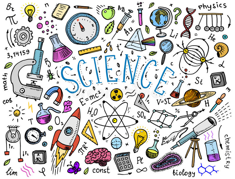 den inristade handen som dras i gammalt, skissar och tappningstil vetenskapliga formler och beräkningar i fysik och matematik royaltyfri illustrationer