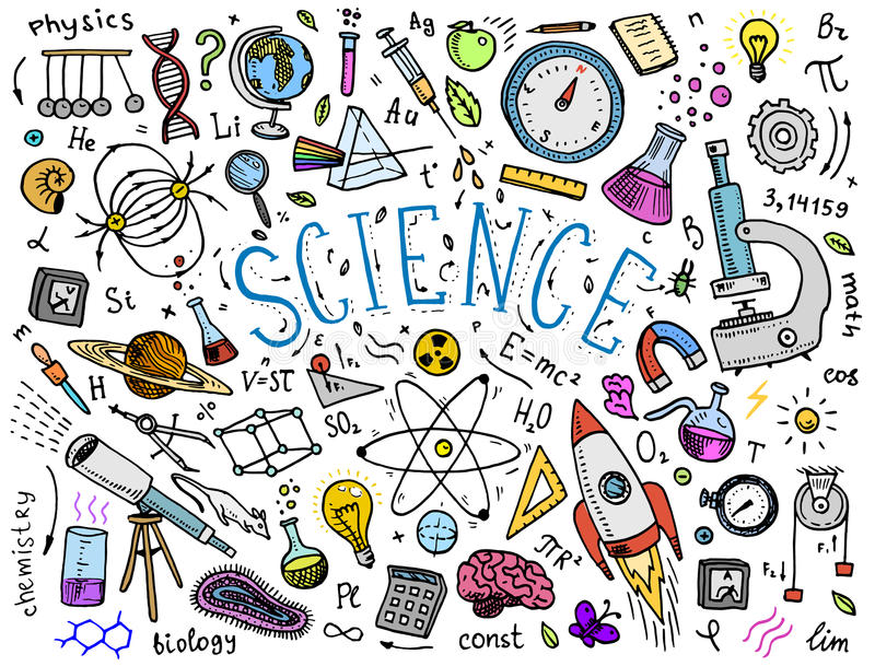 den inristade handen som dras i gammalt, skissar och tappningstil vetenskapliga formler och beräkningar i fysik och matematik stock illustrationer