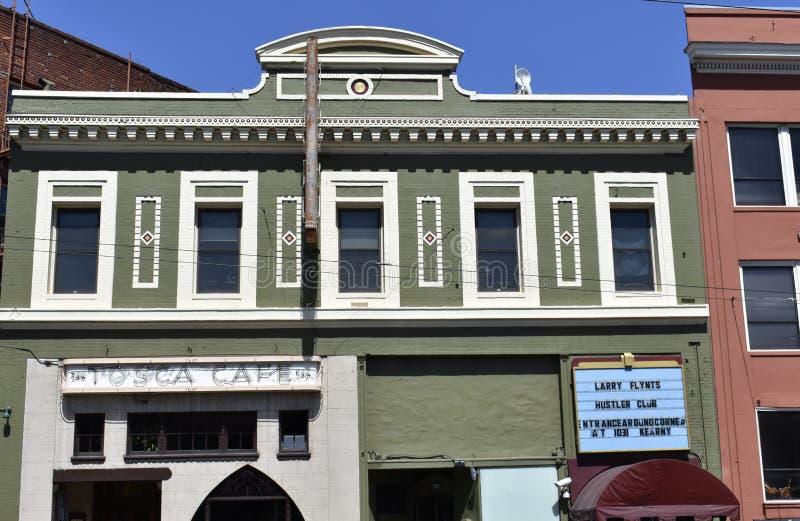 Den interestingly historiska Tosca Cafe arkivfoton