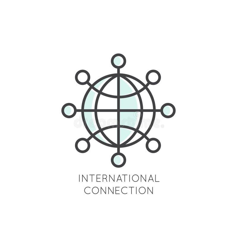 Den internationella affären, ledning, marknadsföringen, marknaden, anslutning, isolerade linjärt designbegrepp vektor illustrationer