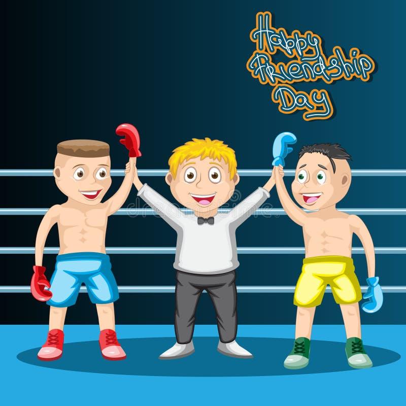 Den internationella kamratskapdagen, ungarna som boxas en attraktion, domaren och de två boxarna är vänner bl? vektor f?r sky f?r royaltyfri illustrationer