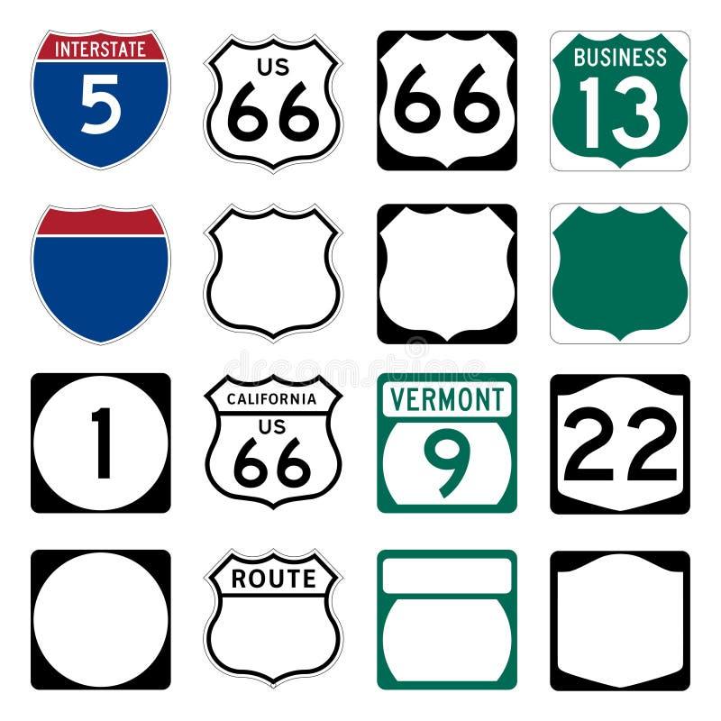 den interstate routen undertecknar oss vektor illustrationer