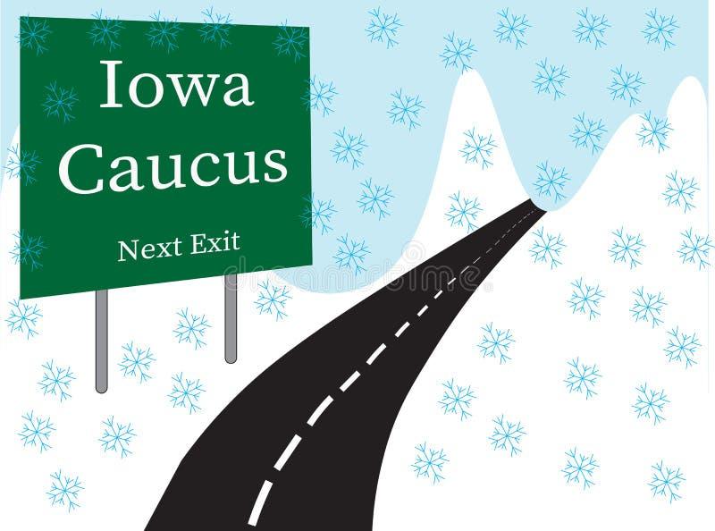 Den Iowa förberedande valmötevägrenen illustrerade plakatet royaltyfri illustrationer