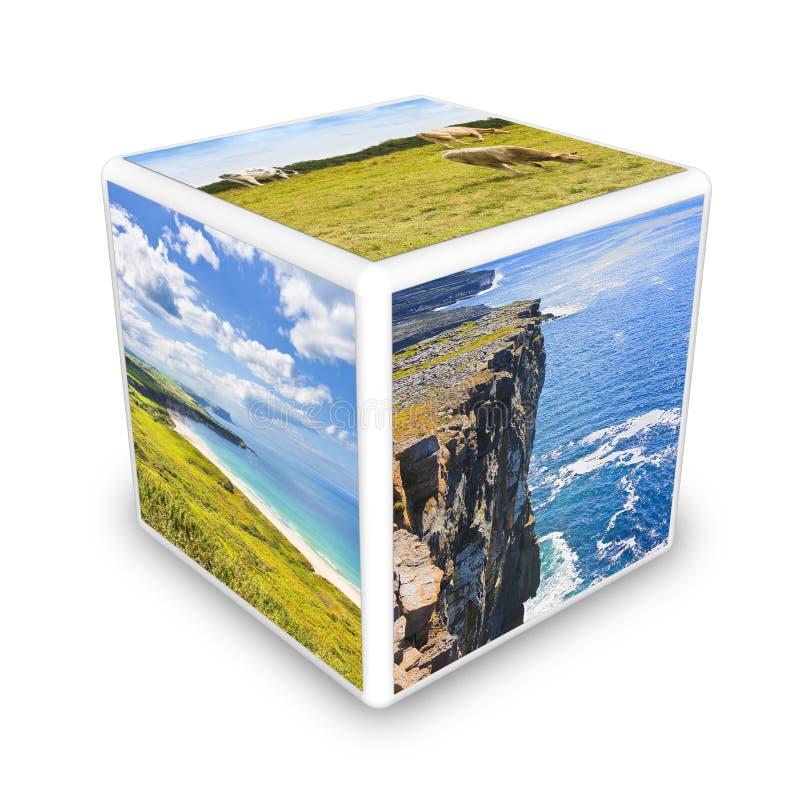 Den irl?ndska kulturbegreppsbilden Irland - Europa - kuben formade begreppsm?ssig bild royaltyfria foton