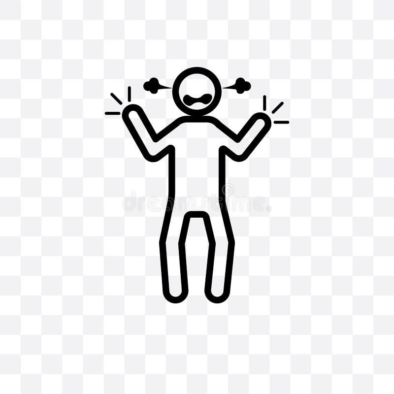 den irriterade linjära symbolen för den mänskliga vektorn som isoleras på genomskinlig bakgrund, det irriterade mänskliga stordia stock illustrationer
