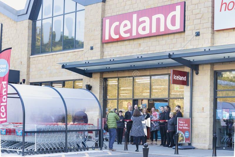 Den Island supermarket som är öppen på rävdaldetaljhandel, parkerar nu i Sheffield arkivbilder