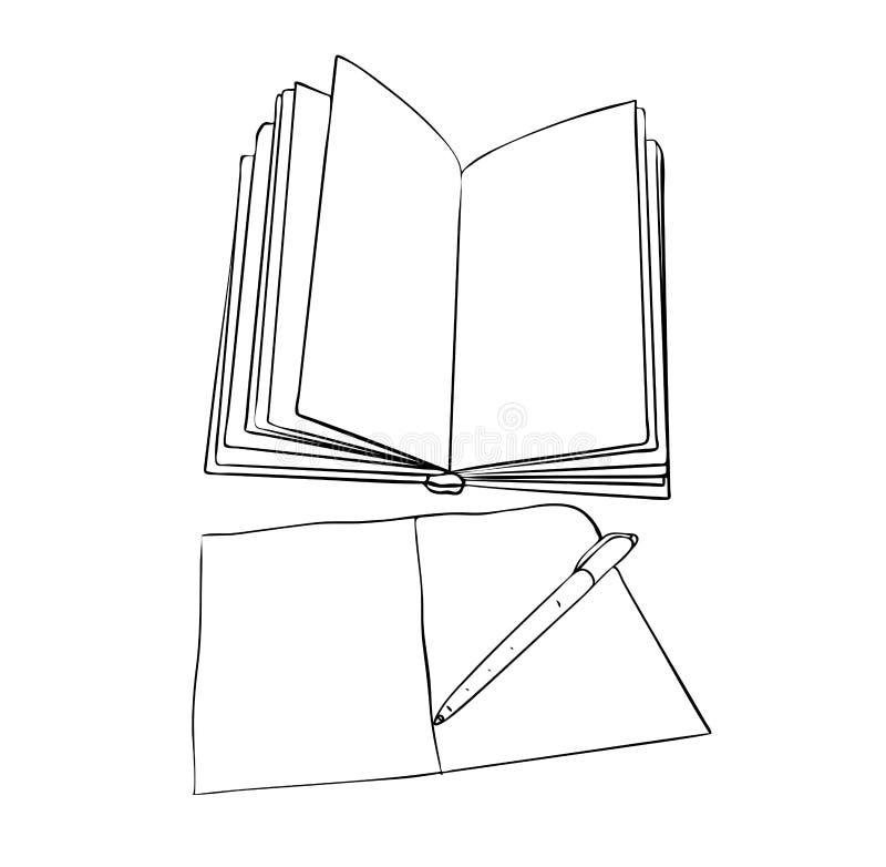 Den isolerade öppna tomma boken med anteckningsboken och pennan i svartvita färger, översiktshand målade teckningen stock illustrationer