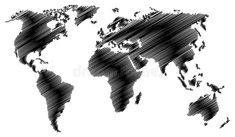 Den isolerade abstrakta svarta världskartan med klottrar effekt på vit bakgrund stock illustrationer