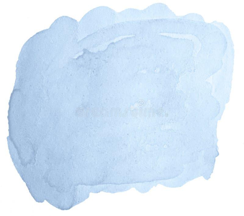 Den isolerade blåa pastellfärgade vattenfärgen som hand-dras, tvättar fläck arkivbild
