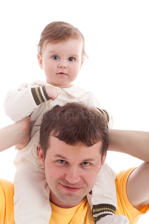 den isolerade fadern skuldrar sonwhite royaltyfria bilder