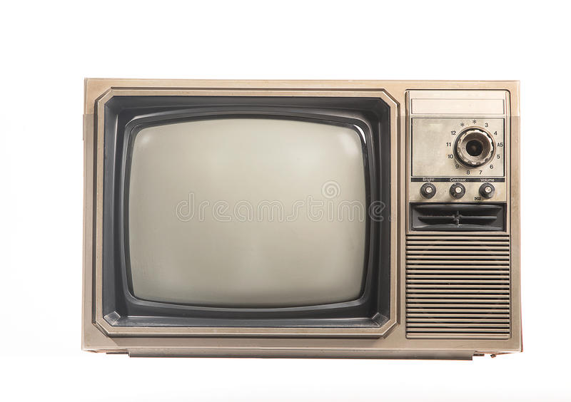 Den isolerade gamla TV:N på arkivbild