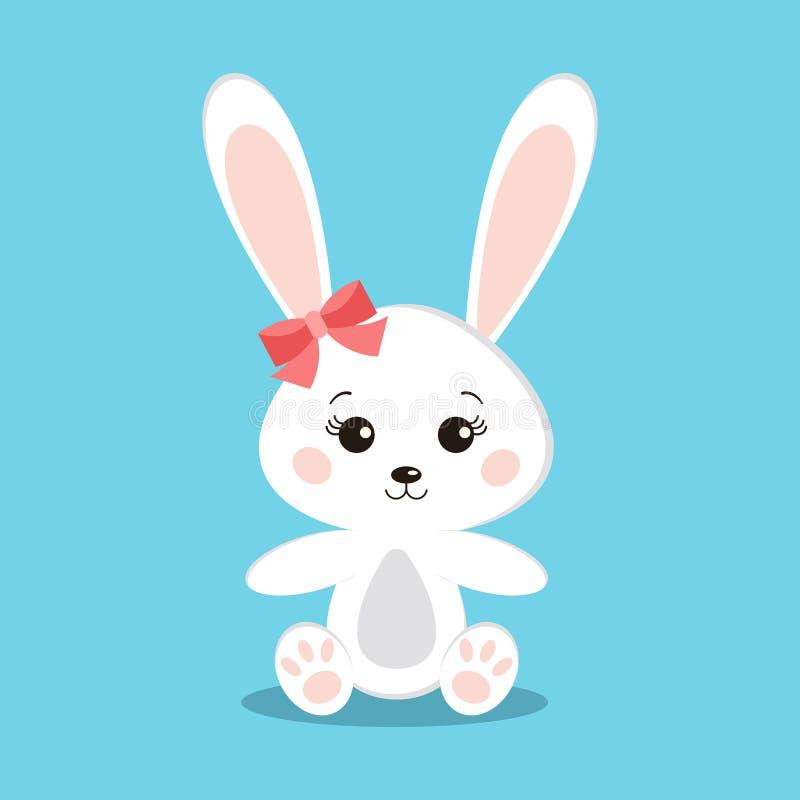 Den isolerade gulliga och söta vita kaninflickan, i att sitta, poserar royaltyfri illustrationer