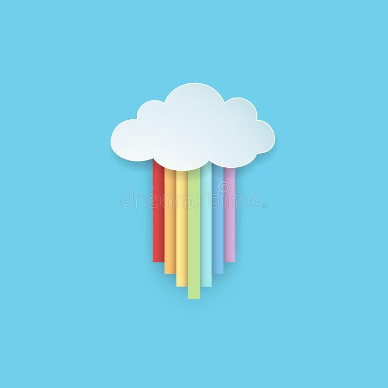 Den isolerade hängande tecknad filmregnbågen färgade band med det regniga molnet på den blåa bakgrunden pappers- konststil royaltyfri illustrationer