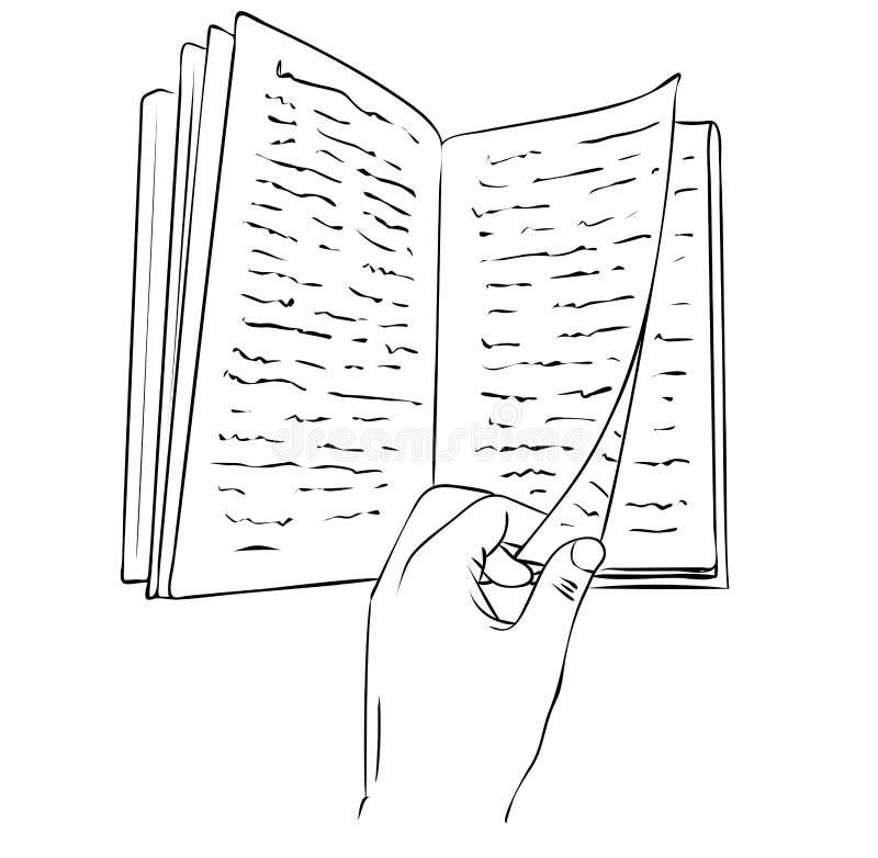 Den isolerade handen som vänder över en boksida i svartvita färger, översiktshand, målade teckningen stock illustrationer