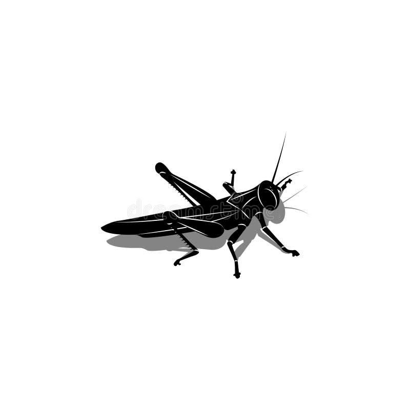 Den isolerade konturn av en gräshoppa med en skugga, ett kryp förbereder sig att hoppa, den svartvita vektorillustrationen är royaltyfri illustrationer