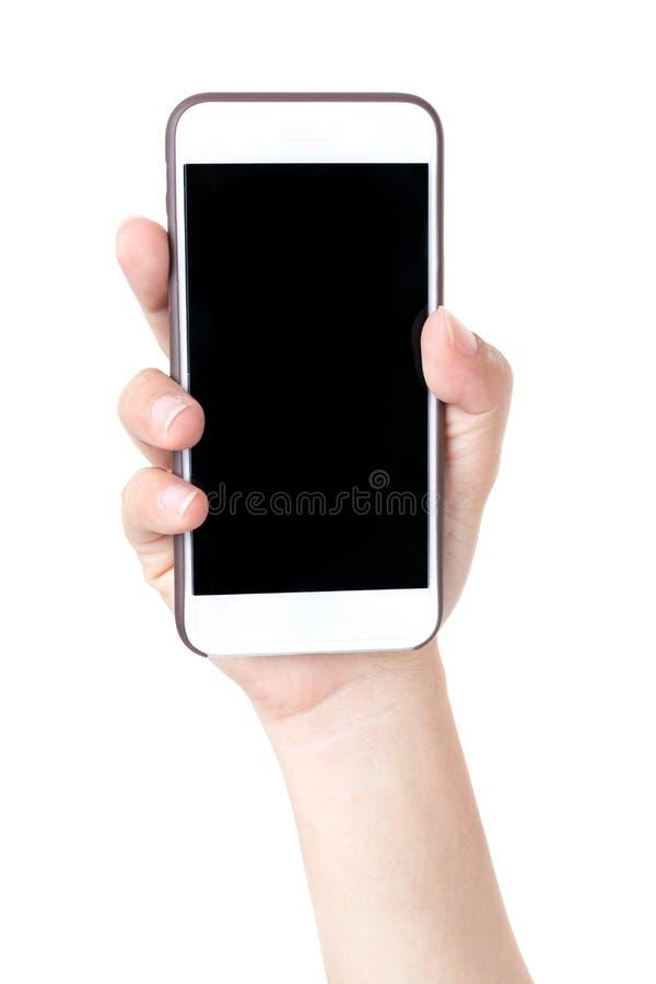Den isolerade kvinnlign räcker att rymma telefonen royaltyfri fotografi