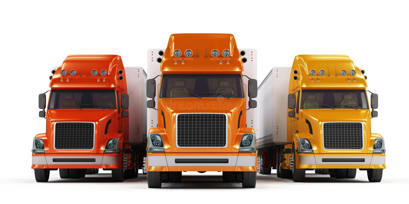 den isolerade presentationen några trucks white royaltyfri illustrationer