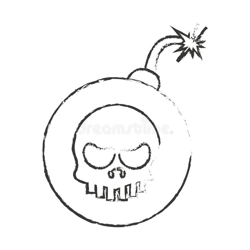 Den isolerade skallen och bombarderar design royaltyfri illustrationer