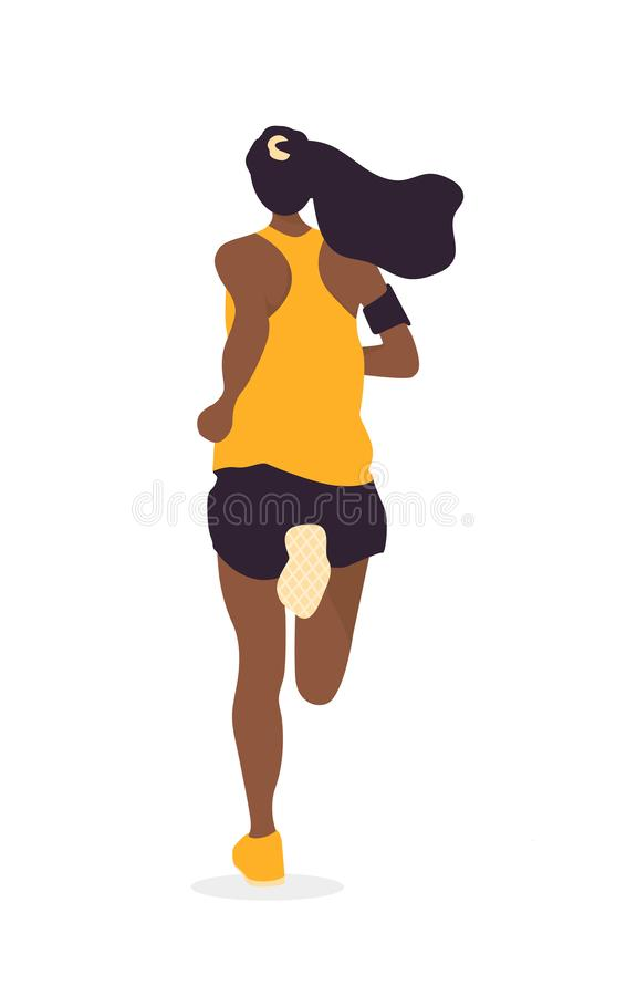 Den isolerade unga kvinnan som joggar i gräsplanen, parkerar royaltyfri illustrationer