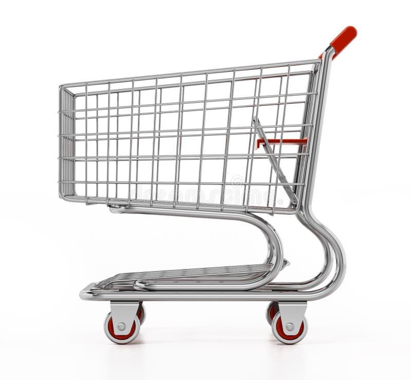 den isolerade vagnen för bakgrund 3d framför shopping vit illustration 3d stock illustrationer