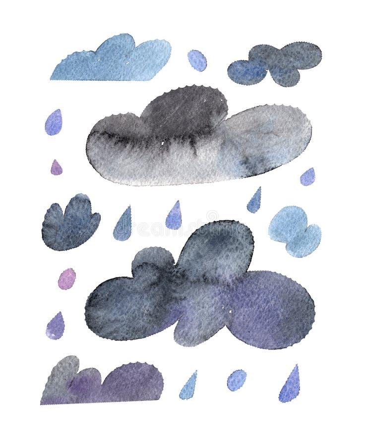 Den isolerade vattenfärgillustrationen av moln och regndroppar ställde in för väder som förutsågs på vit bakgrund vektor illustrationer