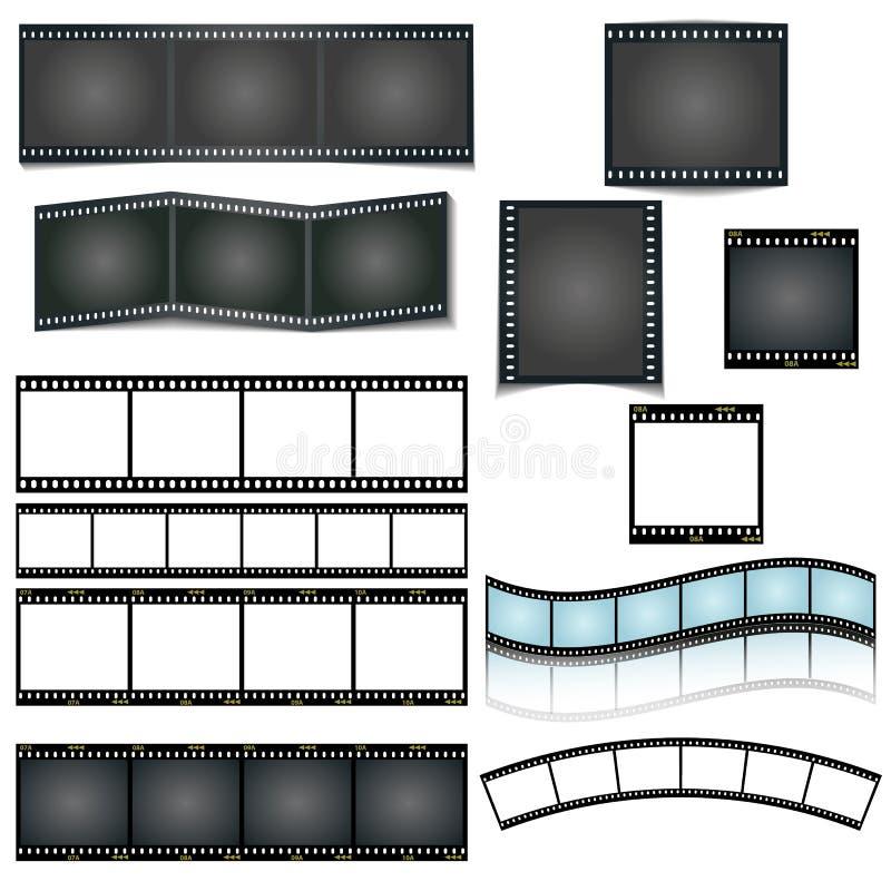 Den isolerade vektorfilmremsan ställde in på vit bakgrund vektor illustrationer