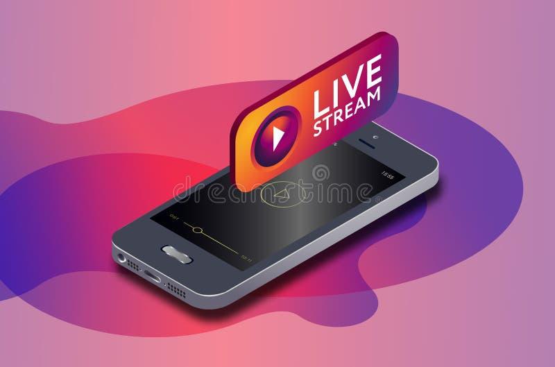 Den isometrisk mobiltelefonen och instagram bor symbolen för videoströmmen instagram som strömmar direktanslutet via smartphonen royaltyfri illustrationer
