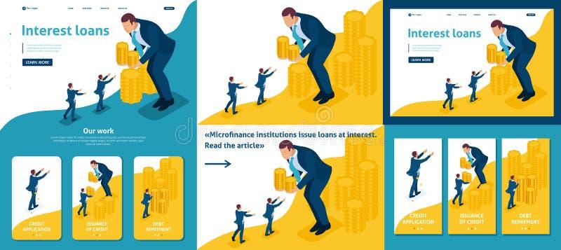 Den isometriska affärsmannen lånar pengar till affärsmän vektor illustrationer