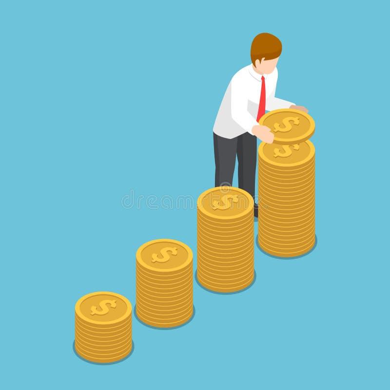 Den isometriska affärsmannen satte myntet till tillväxtbunten av mynt stock illustrationer