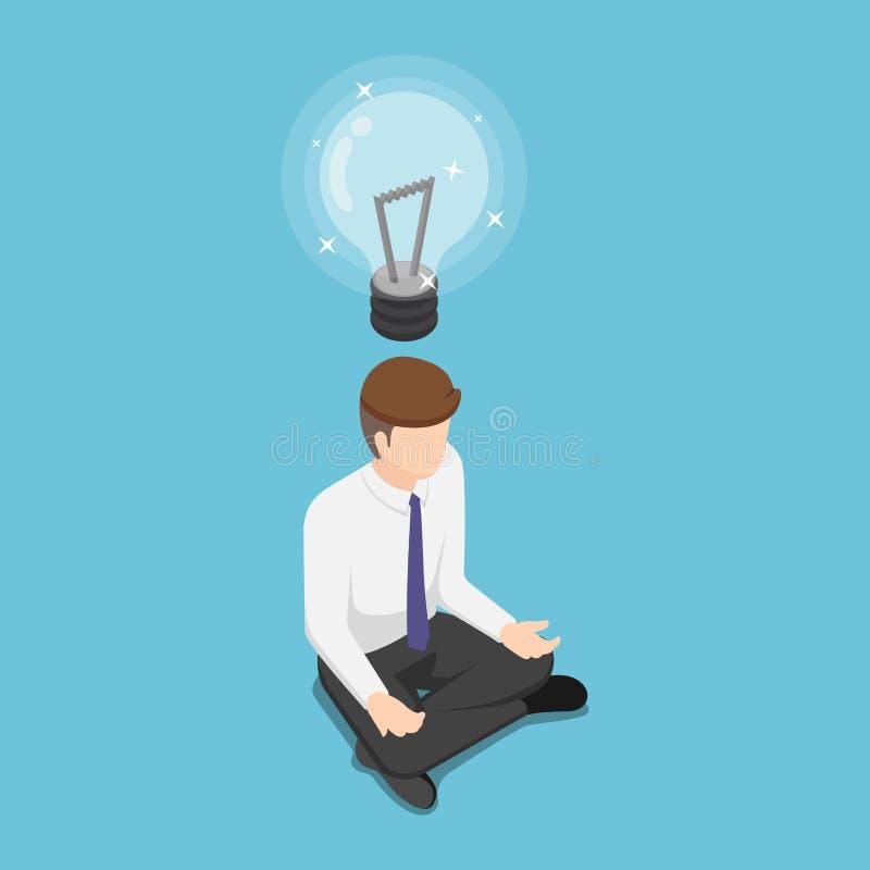 Den isometriska affärsmannen som gör meditation och, får ny idé stock illustrationer