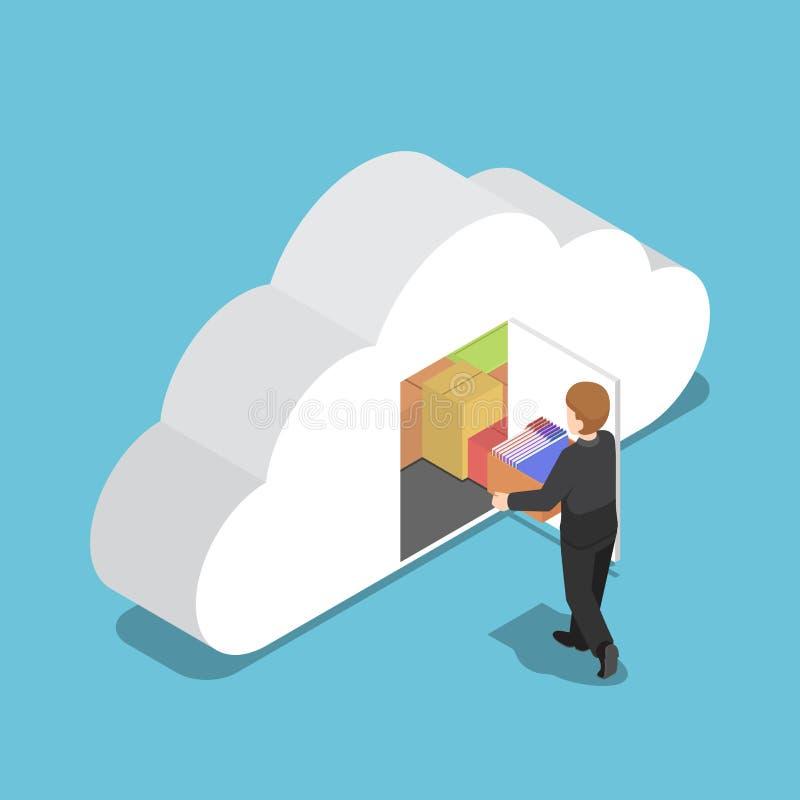 Den isometriska affärsmanuppehällemappen i moln formade rum royaltyfri illustrationer