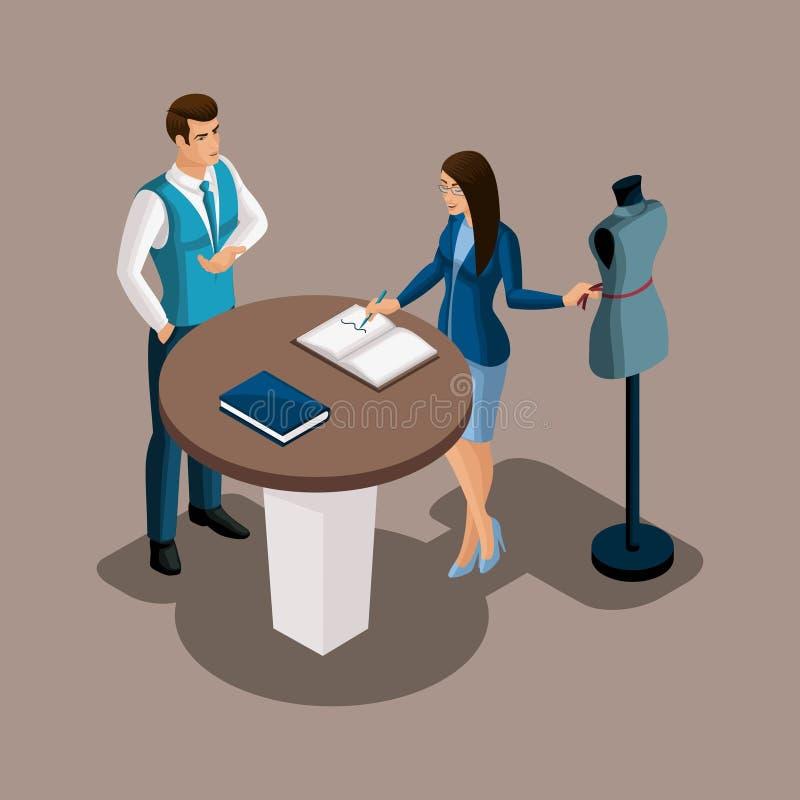 Den isometriska bankkamrern föreslår att använda servicen av banken, skräddaren som flickan betraktar erbjudandet Entreprenör att stock illustrationer