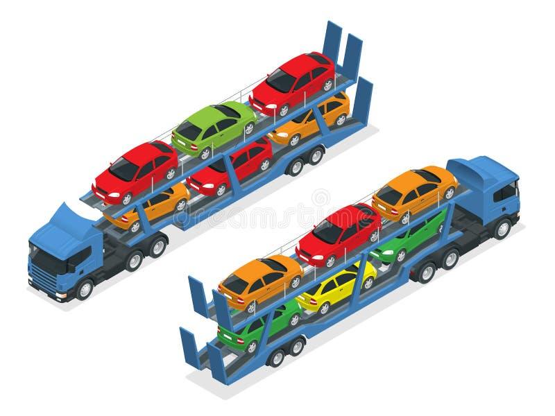 Den isometriska biltransportlastbilen på vägen med olika typer av bilar sänker vektorillustrationen Släptransporterna stock illustrationer