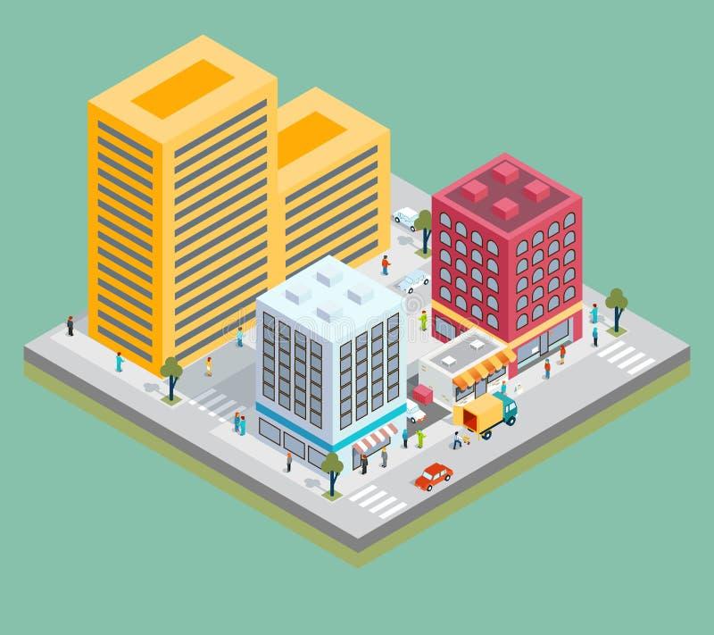 Den isometriska centrumöversikten med byggnader, shoppar vektor illustrationer