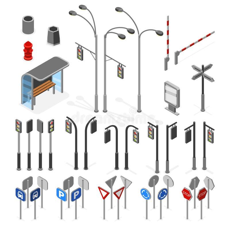 Den isometriska 3d gatan, vägvektor anmärker symbolsuppsättningen royaltyfri illustrationer
