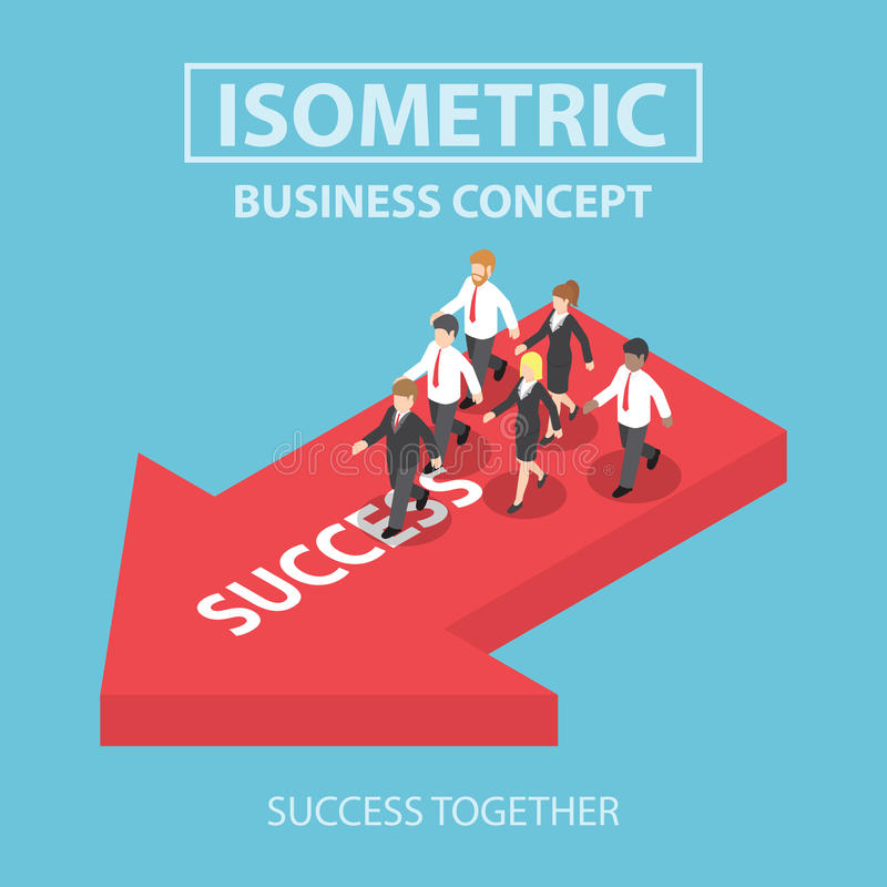 Den isometriska företagsledaren kommer med hans lag till framgång stock illustrationer