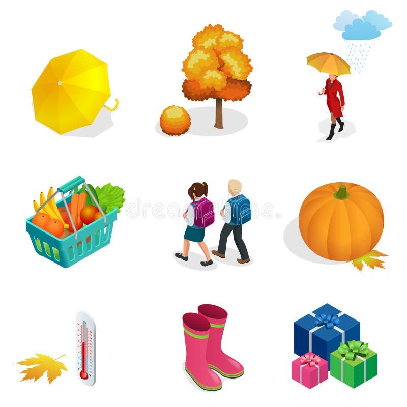 Den isometriska höstsymbolen och objekt ställde in för designpumpa, termometern, kvinnan med ett paraply i regnet, barn med vektor illustrationer