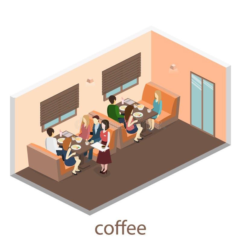 Den isometriska inre av kafét shoppar kafé eller restaurang för plan isometrisk design 3D inre Folket sitter på tabeller och äter vektor illustrationer