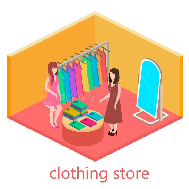 Den isometriska inre av kläder shoppar arkivfoto
